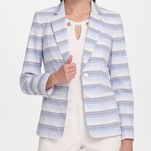 Tommy Hilfiger Textured Striped Two Button Blazer